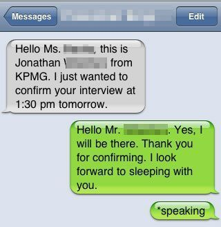 Interview text fail :-) collegelife autocorrect