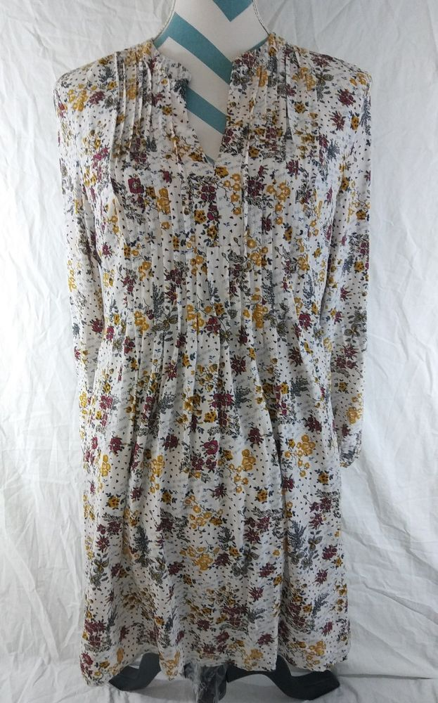 249fe5a388a8 Old Navy Size Medium Floral Printed Pintuck Long Sleeve Swing Dress #OldNavy  #Casual