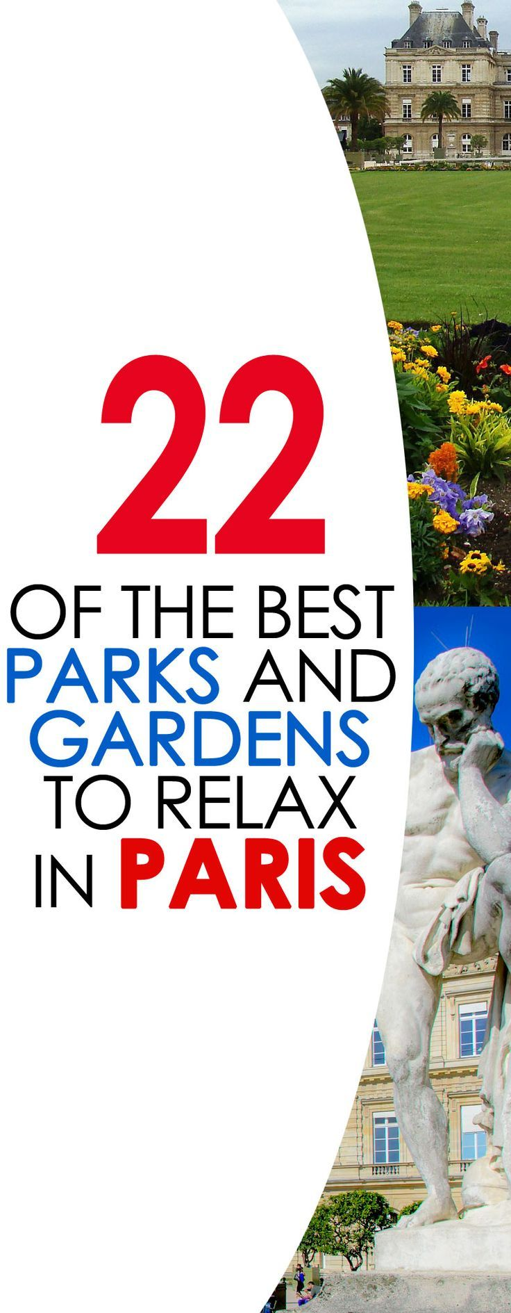 There is probably no better way to relax than sit in a beautiful park or garden in Paris, France and take in the fresh air and atmosphere...