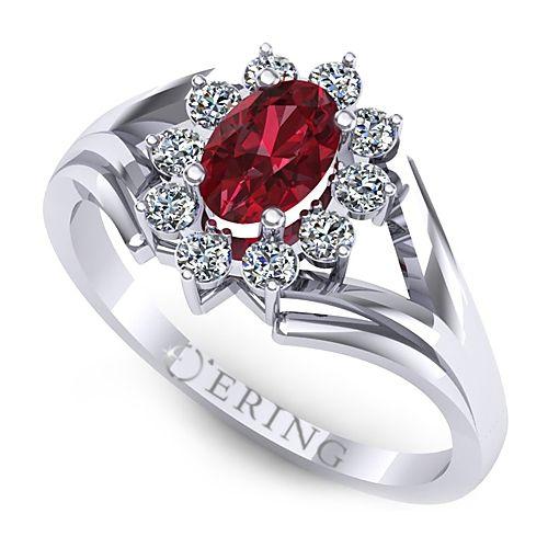 Inel logodna L17ARB inel cu diamant si rubin