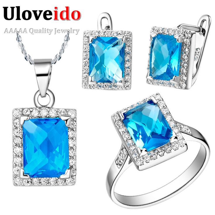 Free Shipping Wholesale New Silver Blue Crystal Bridesmaid Wedding Jewelry Sets Necklaces Pendants Ring Earrings Uloveido T008