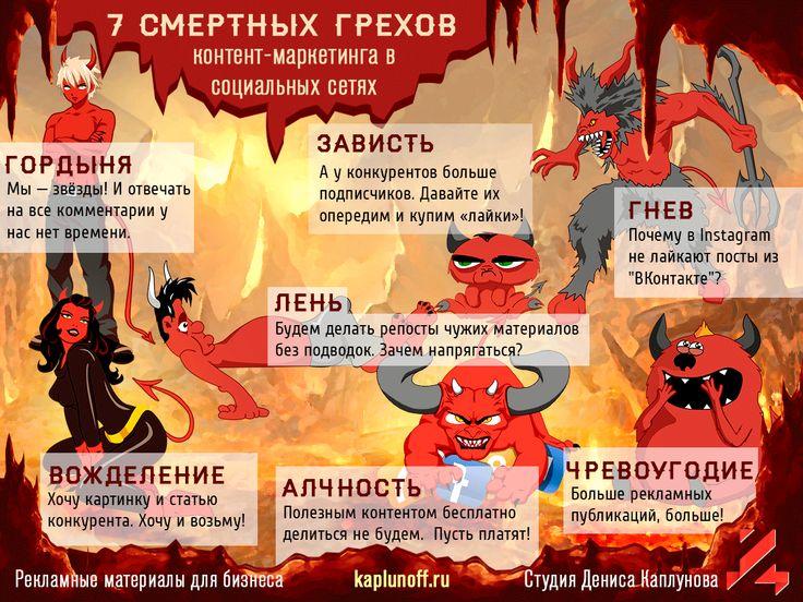 7 смертных грехов контент-маркетинга в социальных сетях. Илюстрация smm2you.wordpress.com