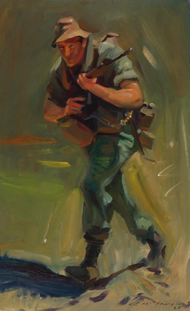 McFadyen, Ken 'Contact' 1968, oil on canvas on hardboard, 61.2 x 45.6 cm.  #kenmcfayden #vietnamoncanvas #sandrafingerlee #vietnamwar #warart #oiloncanvas #oilpainting #soldier