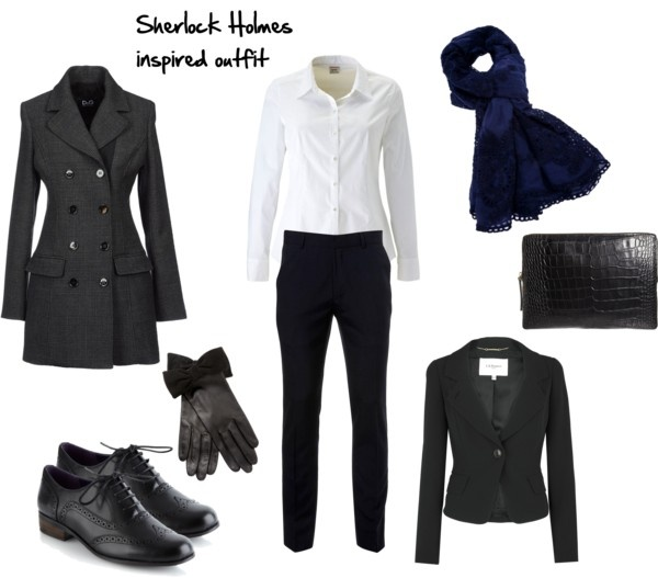 """Sherlock Holmes inspired outfit"" by rita707 on Polyvore...toss a silk turtleneck underneath and black boots instead, great stylish yet warm winter trip outfit..."