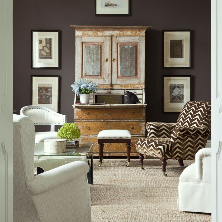 Decorating Around The TV   20 Elegant, Inspiring Ideas - laurel home   fabulous living room by Phoebe Howard. Guess what's living inside the secretary!