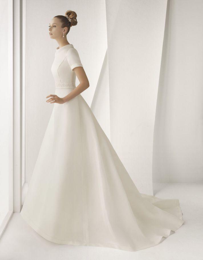 Modest ivory silk mikado rosa clara wedding dress with for Buy petite wedding dresses
