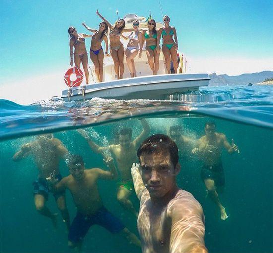 Best Group Selfie - Guys under water and girls on boat selfie