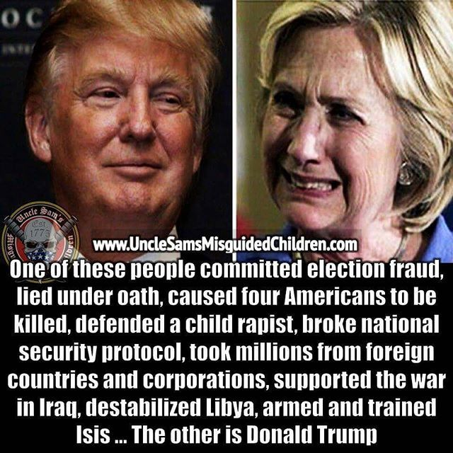 Say no to the B*tch of Benghazi, Hillary Clinton. Let's take America back! Let's Make America Great Again by putting the clear choice in the White House ~@guntotingkafir GOD BLESS OUR VETS, GOD BLESS OUR TROOPS AND GOD BLESS AMERICA!!! ✊ TRUMP 2016