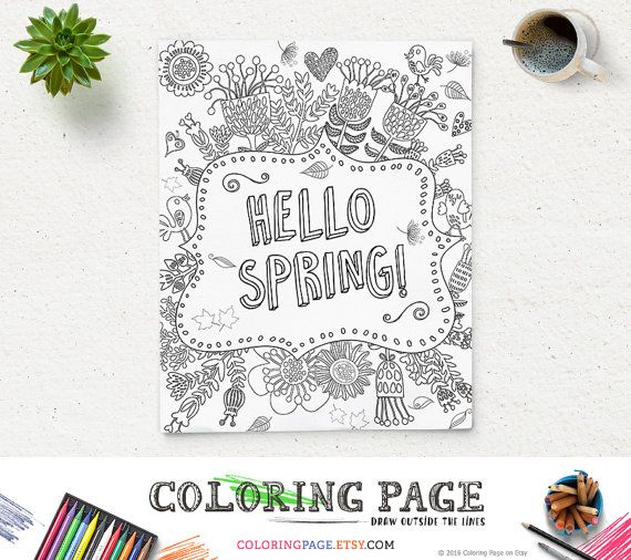 Coloring Page Printable Art Hello Spring New Year Instant Download Digital Art Printable Coloring Pages Anti Stress Art Therapy Zen Coloring