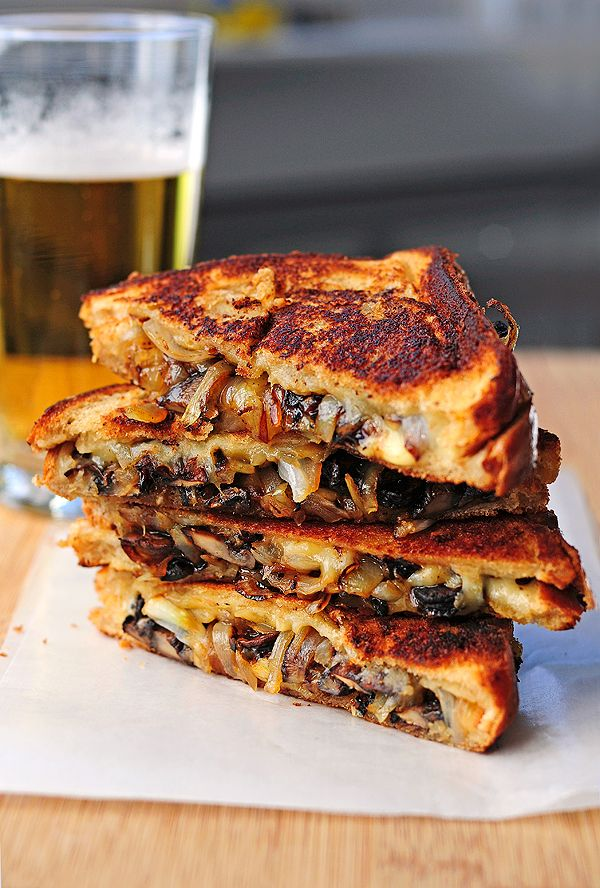 Roasted Mushrooms and Onions with Gouda Grilled Cheese.