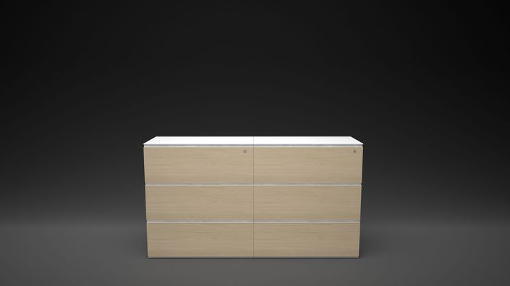Advanced office storage system with wood veneer finishes and clean smooth detailing. #organised #functional #office #workspace #workplace #storage #organized