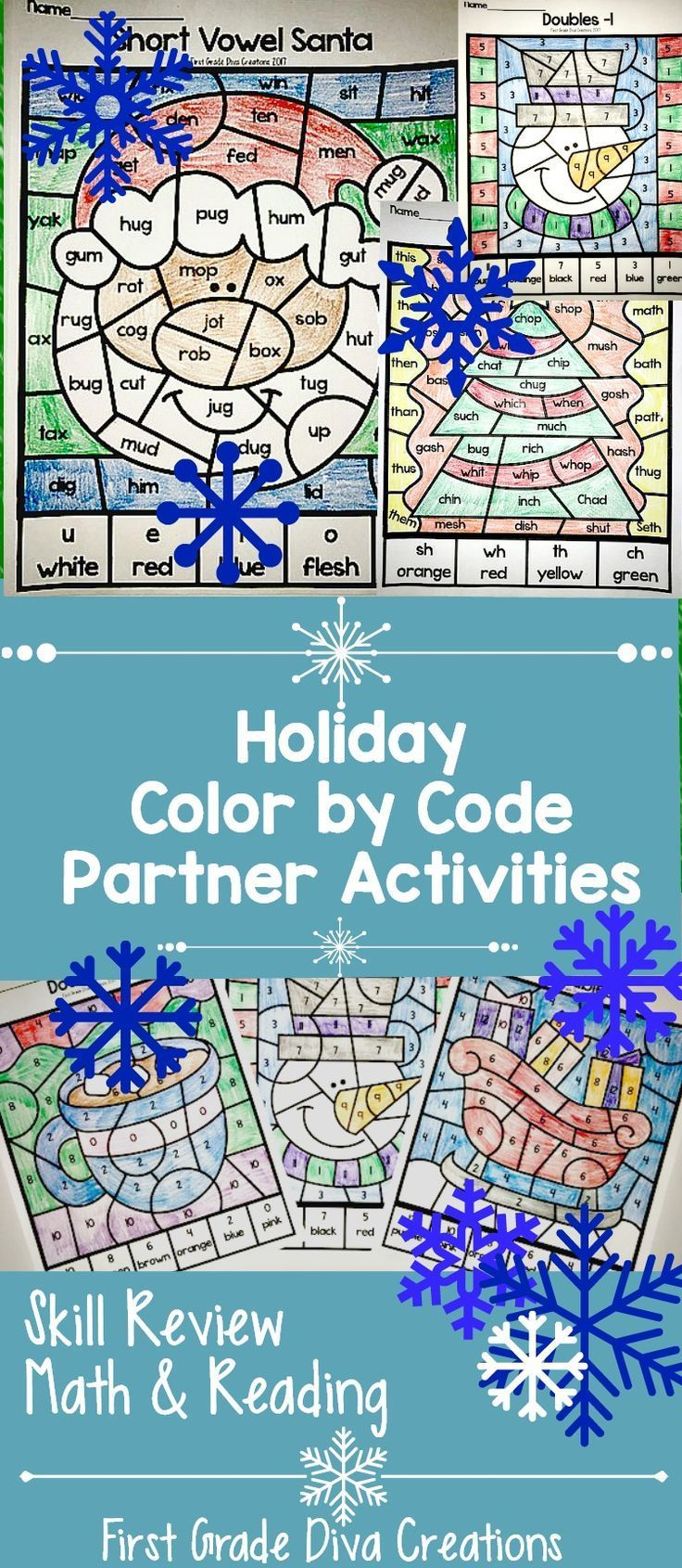 "It's the most wonderful, busy time of the year. Do your students love to color? They will love these Christmas and winter-themed pages. I created these ""color by code"" activities to reinforce important skills before the winter break. Reading skills covered include short vowels, double consonant spelling rule, and consonant digraphs. Math skills covered include doubles, doubles +1/-1, and doubles +2/-2. Print and teach for easy holiday teaching."