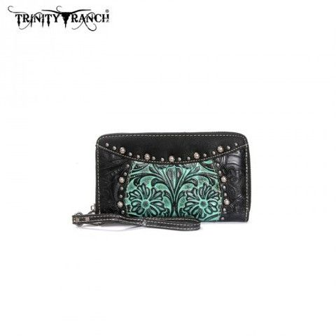 WESTERN TOOLED WALLET - BLACK/TURQUOISE