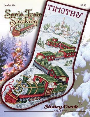 Stoney Creek Santa Train Stocking - Cross Stitch Pattern. Model stitched on 28 Ct. White Jobelan using DMC floss, Glissengloss, Weeks Dye Works and Mill Hill be