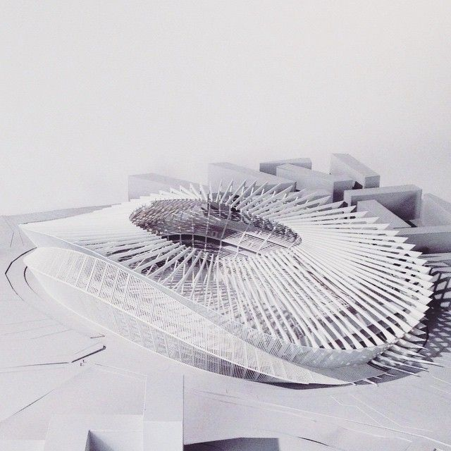 """nexttoparchitects: """"by casoyi Stadium design with @chasepitner #finalmodel #architecture #architectureschool #sine #cosine #math #computation #parametricdesign #3dprinted #lasercut """""""