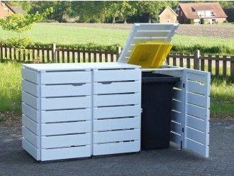 3er Mülltonnenbox Holz 120 Liter