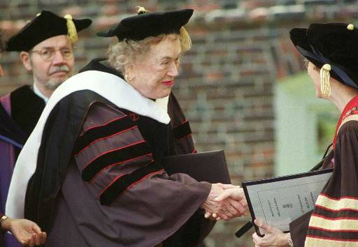 Master Chef and author Julia Child, center, is congratulated after receiving an honorary doctorate of humane letters from Brown University in Providence, R.I.