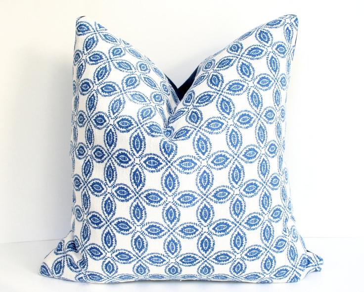 Blue Pillow Cover  - Tala Bluemarine - 17x17. for rocking chair