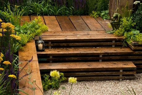 reclaimed scaffolding boards - deck