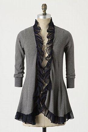 T-shirt makeovers - t-shirt refashion - knit long sleeve t-shirt upcycled into a Ruffle edge cardigan DIY
