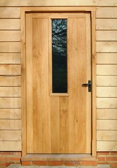 External panelled and glazed oak front doors