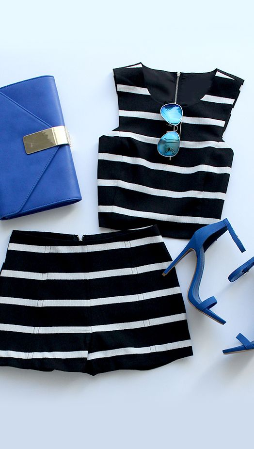 great matching top and shorts. black and white stripes allow for you to wear any color accessory.