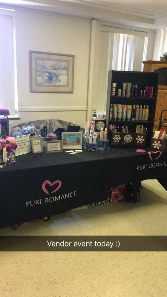 Pure Romance vendor event set up example www.pureromance.com/hannahspear