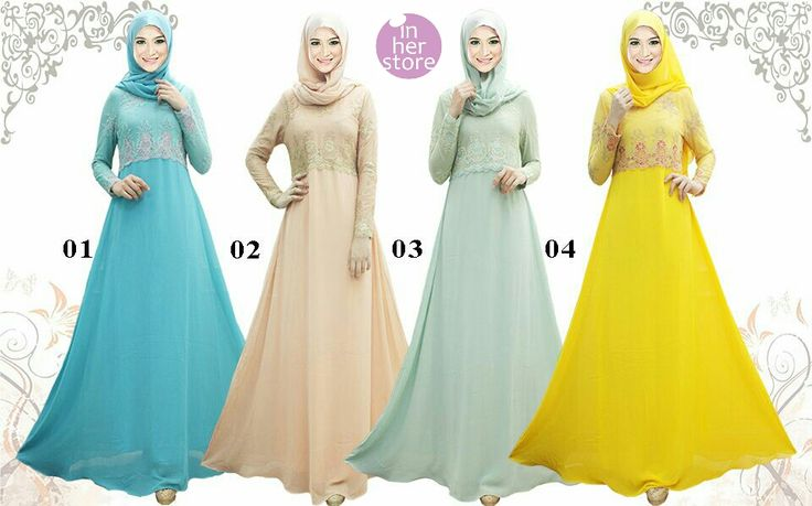Gamis/Jubah Raya by In Her Store Indonesia – Raia Series Material : Chiffon Cerutti & Panel Lace Size : S – M – L - XL Retail Price : Rp 425rb/pc (Include Pashmina) Reseler Price : Rp 400rb/pc (min.3pcs, mix size & colours allowed) PIN : 56EC4B97 Line : inherstore