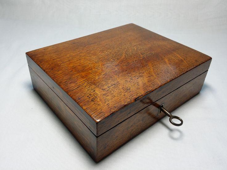 Antique Oak Writing Box Inkwell Dip Pen Wipe