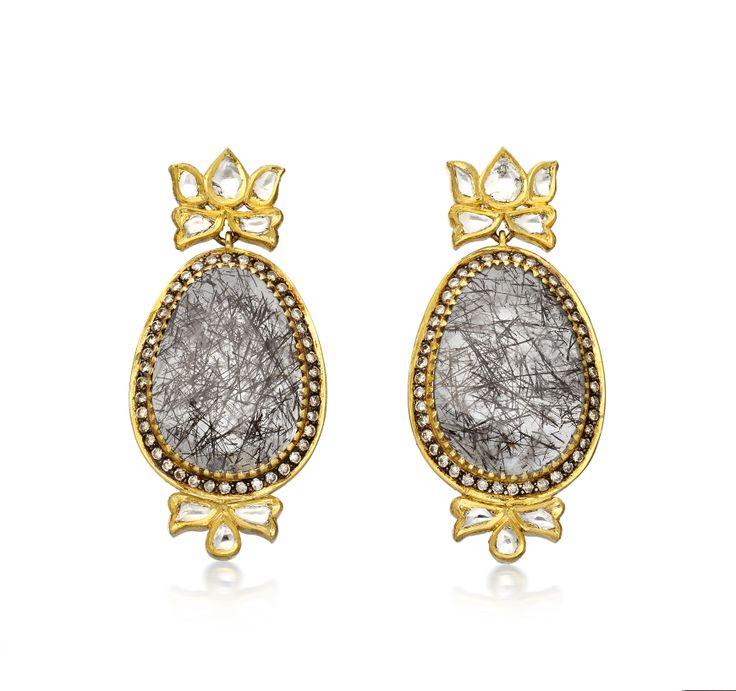 Diamond Lotus & Rutile Earrings by Amrapali