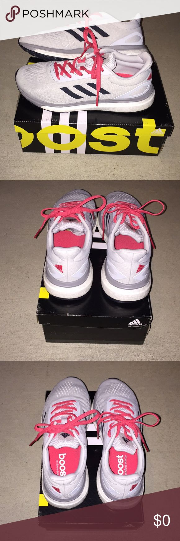 (NEW) Adidas Sonic Drive Running Shoes Grey/Pink Brand new. In box. Women's Sonic Drive Running Shoe. Size: 6 1/2 - runs a whole size big. I am 7-7 1/2 & these fit. 2 pairs for sale 6 1/2 & 6. See last pic of size chart.  Color: Grey w/pink'ish/coral'ish accent in laces & adidas logo back right. Boost technology.  ☑️ Smoke/pet free ☑️ No trades - don't ask ☑️ Item is available for purchase - no need to ask ☑️ Ships out same day from Southern CA  THANKS FOR LOOKING! PLEASE BE SURE TO CHECK…