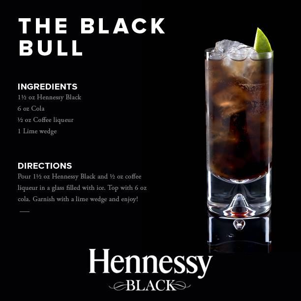 Anything with Hennessy in it makes me happy :-) | Hennessy, The Black Bull #drinks