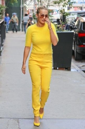 Women's Yellow Short Sleeve Sweater, Yellow Skinny Pants, Yellow Leather Pumps, Brown Sunglasses