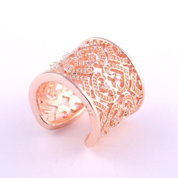 Изделия стерлингового серебра 925, Белый циркон резной в форме сердца, Роуз обручальное кольцо обручальное кольцо обручение R107