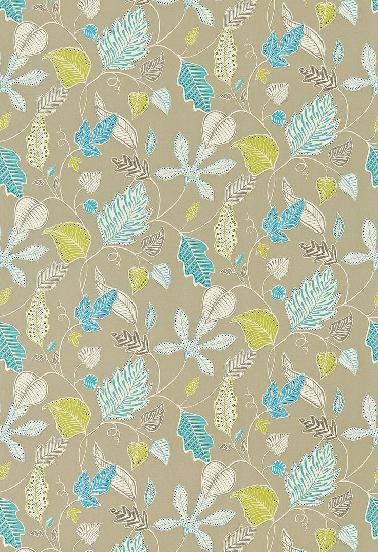 Flavia (120117) - Harlequin Fabrics - A dramatic, oversized, all-over leaf motif. Shown in the Oatmeal, Linen, Turquoise colourway. Please request sample for true colour match.