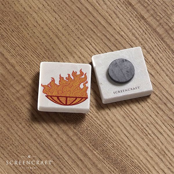 This unique marble magnet created in Providence by ScreenCraft Tileworks is the perfect gift for any WaterFire lover. Carved from large blocks of marble, no two marble magnets will be the same! #marble #magnets #waterfire