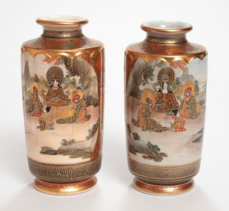 A Pair of Antique Japanese Satsuma Ware Vases - Waterside Sc   JPEGbay.com