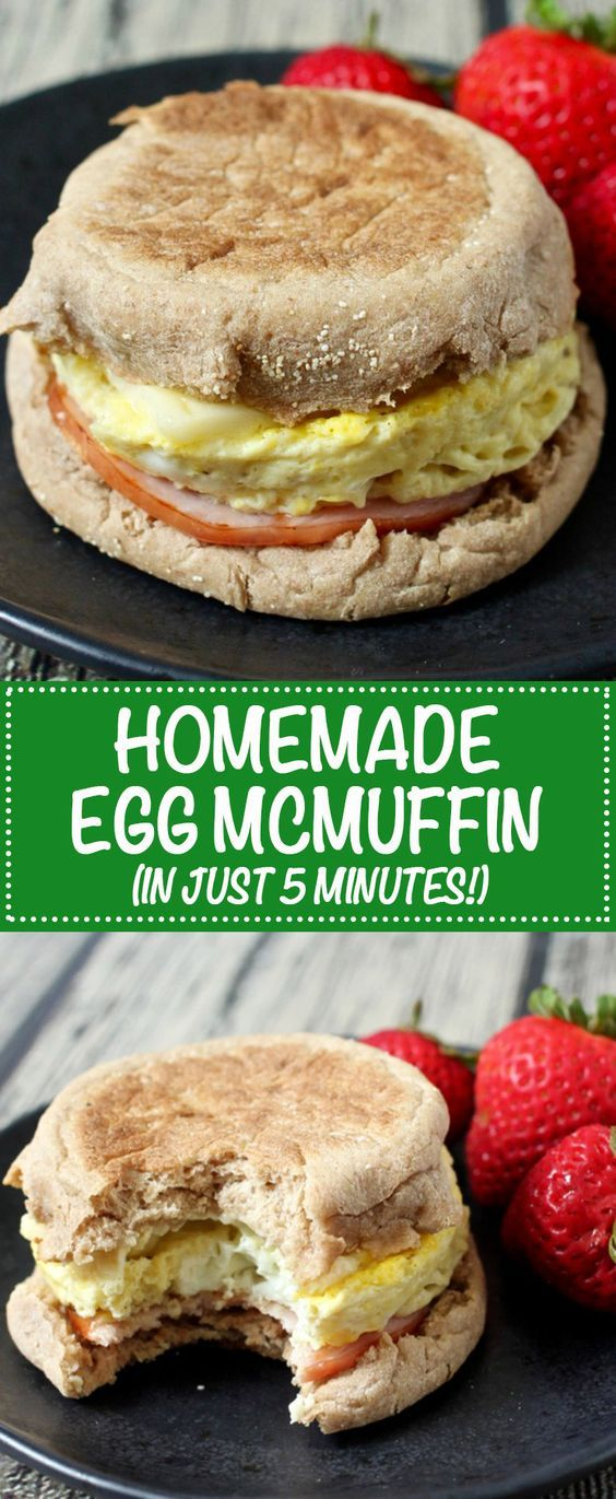 A homemade egg McMuffin ready in just 5 minutes for a quick and easy breakfast! The ramekin trick makes the perfect size and shaped egg! | www.FamilyFoodontheTable.com