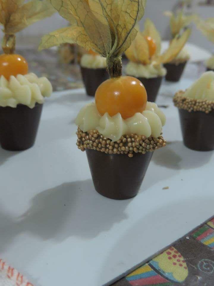 Copinho de chocolate belga com trufa de chocolate e decorado com phisalys