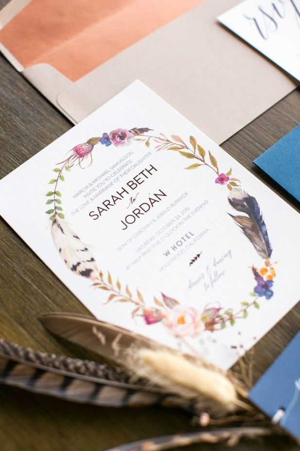 Boho wedding invitations (Birds of a Feather)