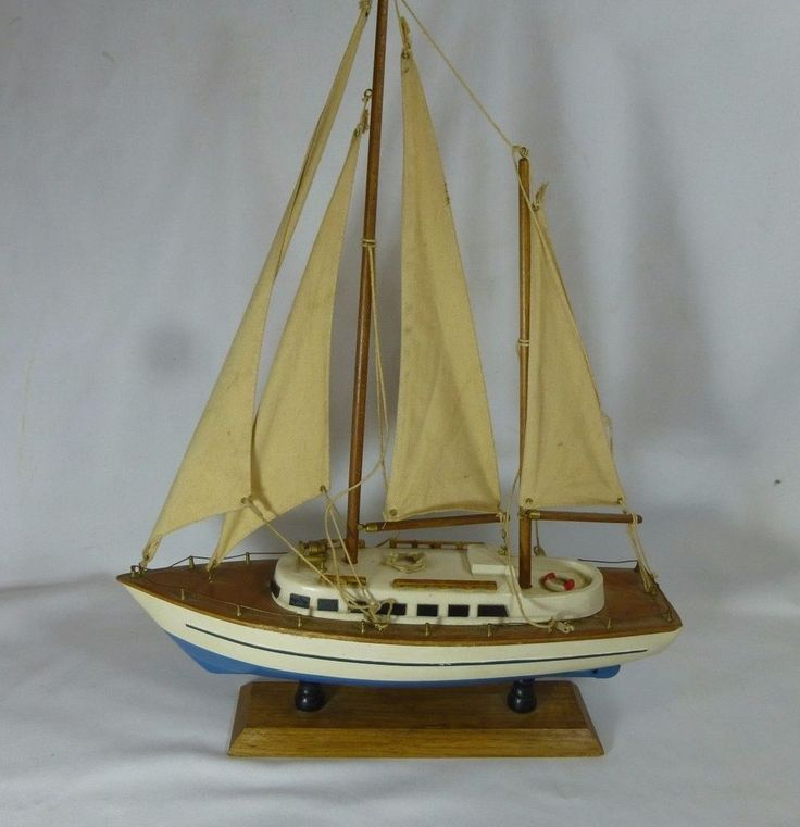 Nautical Decor Wooden Craft Sailing Boat Ship Home Party Desk Display