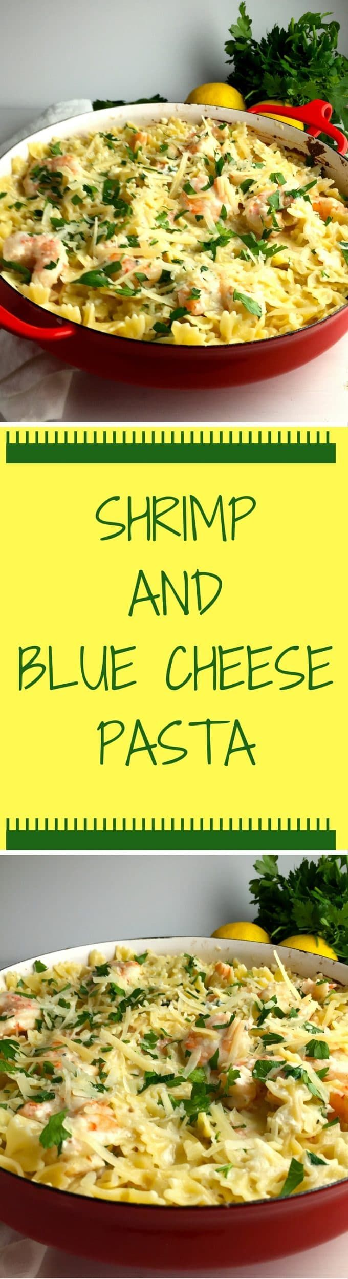 Shrimp and Blue Cheese Pasta is tender shrimp mixed with a decadent blue cheese sauce over yummy pasta covered with parmesan cheese. via @http://www.pinterest.com/gritspinecones/