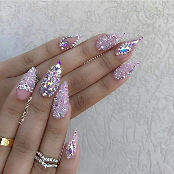 Bling, princess nails, pink, glitter, gems, stones