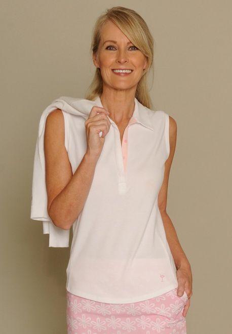 Golftini Ladies Classic Sleeveless Golf Polo Shirts – White/Light Pink