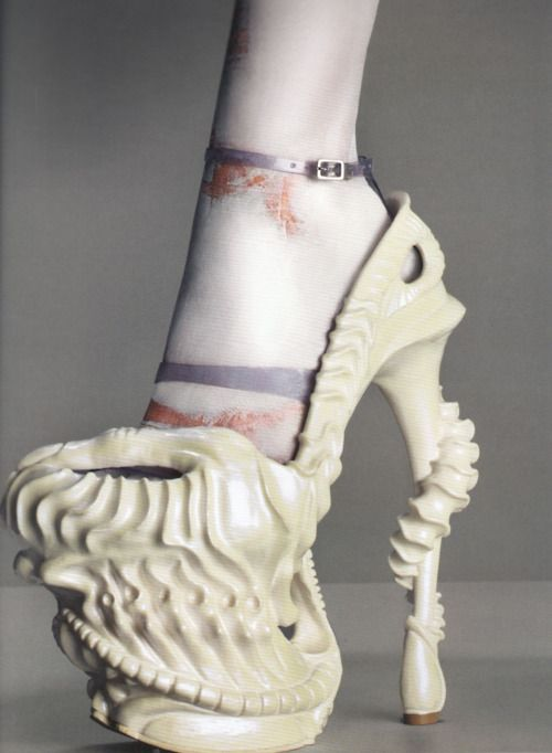 Resin shoe painted iridescent white, by Alexander McQueen fromPlato's Atlantis, spring 2010