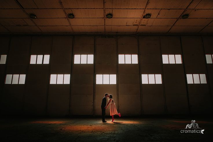 engagement session in a hangar