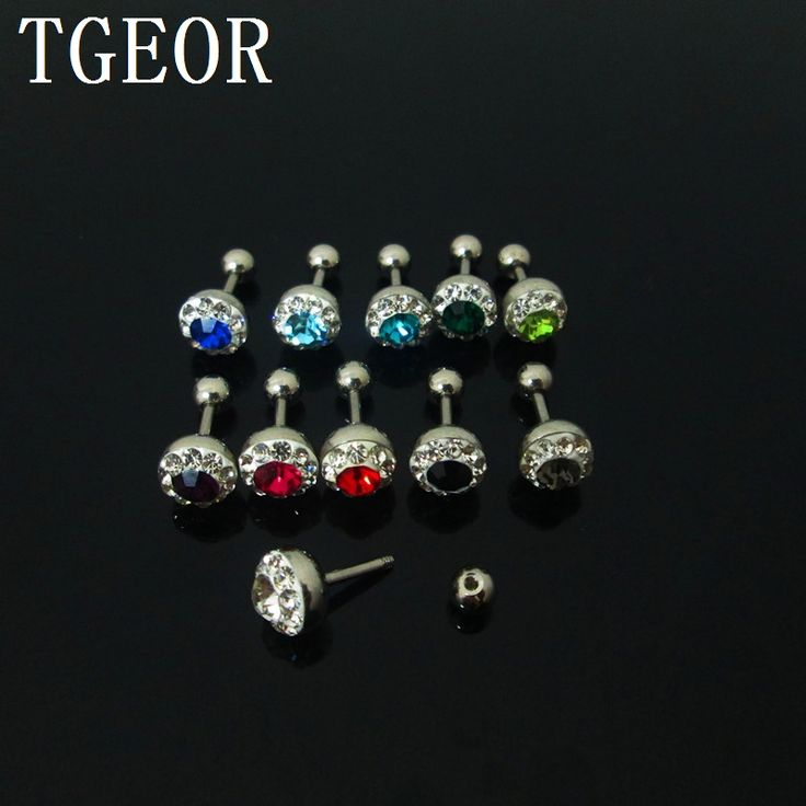 Free shipping 60pcs 1.2*6*4/7mm surgical Stainless Steel rim multi colors crystals earring mixed colors barbell tragus piercing