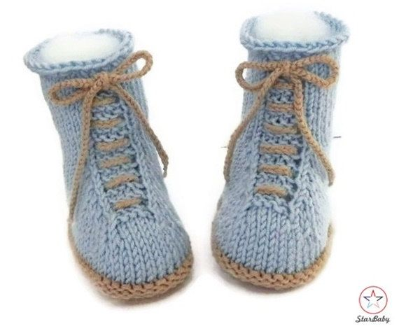Baby Hi Top Booties, Knitted Booties, Desert Boot style Lace ups, Blue Booties, Hand Knit Booties, Baby Booties