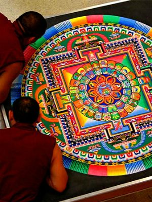 Tibetan sand mandalas are carefully, lovingly created by hand and then destroyed to show the impermanence of all things