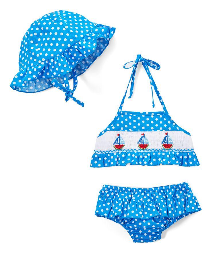 Navy & White Dot Watermelon Boat Sunsuit & Hat - Infant & Toddler